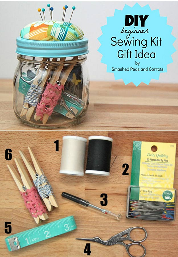 Homemade DIY Gifts in A Jar | Best Mason Jar Cookie Mixes and Recipes, Alcohol Mixers | Fun Gift Ideas for Men, Women, Teens, Kids, Teacher, Mom. Christmas, Holiday, Birthday and Easy Last Minute Gifts | DIY Beginner Sewing Kit Gift in a Jar | http://diyjoy.com/diy-gifts-in-a-jar