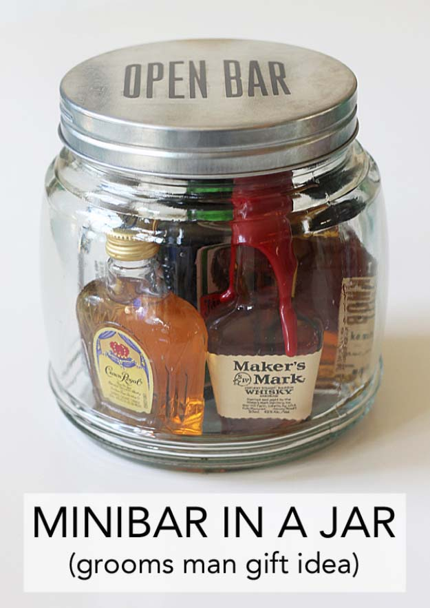 Homemade DIY Gifts in A Jar | Best Mason Jar Cookie Mixes and Recipes, Alcohol Mixers | Fun Gift Ideas for Men, Women, Teens, Kids, Teacher, Mom. Christmas, Holiday, Birthday and Easy Last Minute Gifts | Mini Bar in a Jar Gift | http://diyjoy.com/diy-gifts-in-a-jar